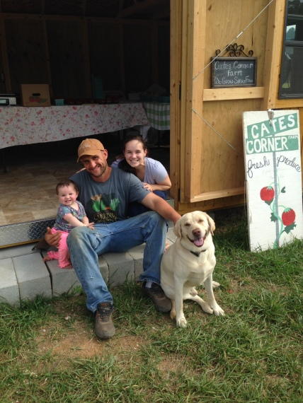 Family time at the farm stand